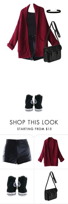 """""""Untitled #1390"""" by amandalampiasi ❤ liked on Polyvore featuring WithChic, Converse, The Cambridge Satchel Company and 2028"""