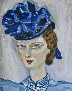 """SOLD """"Petit chapeau bleu"""" - oil 50x60 cms by Vodegel #oil #canvas #art #paintings #buy #oilpaintings"""