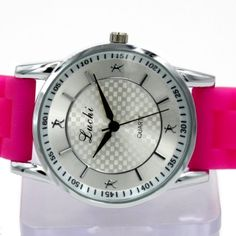 FW822E White Dial PNP Shiny Silver Watchcase Silicone Magenta Band Fashion Watch