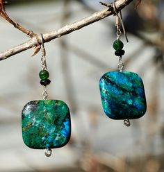 Turquoise, green agate, black tourmaline earrings with sterling silver wire and findings.. $25.00, via Etsy.