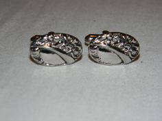 Vintage oval silver tone Baroque Repousse design cufflinks by Shields