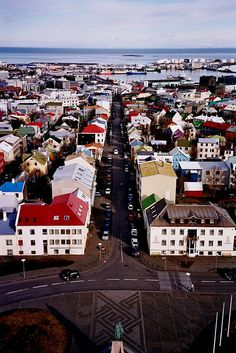 A View of Reykjavík, Iceland from the Top of Hallgrímskirkja ... {This is a memorable view for me. I loved the colorful buildings and the sea beyond them.}