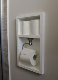 Between the studs, create a recessed area for your toilet paper with this bathroom remodel tutorial. More Remodeled Bathroom Ideas & Inspiring Makeovers on a Budget on Frugal Coupon Living. Source by fclash The post Remodeled Bathroom Ideas Bathroom Renos, Bathroom Renovations, Bathroom Furniture, Remodel Bathroom, Bathroom Cabinets, Bathroom Makeovers On A Budget, Master Bathrooms, Bathroom Bin, Bathroom Vanities