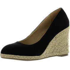 Shop Delicious Womens Parma Round Toe Espadrille Wedge Slip On Sandals - Overstock - 14312718 - Oat - 6.5 B(M) US Kate Middleton Wedges, Tacos Chinos, Black Wedge Sandals, Fall Shoes, Womens Shoes Wedges, Fashion Shoes, Espadrille Wedge, Espadrilles, Parma
