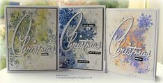 Watercolour Smooshing with Distress Oxides, stamping with Tim Holtz/Stampers Anonymous Mini Weathered Winter, Sizzix Retro Merry Christmas Thinlits Christmas Cards 2018, Christmas Words, Christmas Snowflakes, Retro Christmas, Xmas Cards, Christmas Greetings, Christmas Themes, Holiday Cards, Winter Karten
