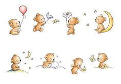 pointed pen vary-actions by Barbara Calzolari, via. Cartoon Kunst, Cartoon Art, Nursery Prints, Nursery Art, Cute Images, Cute Pictures, Fabric Painting, Painting & Drawing, Urso Bear