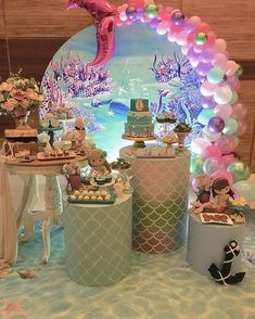 Barbie Mermaid Birthday Party Food 56 Ideas For 2019 Mermaid Party Decorations, Birthday Party Decorations, Party Themes, Ideas Party, 4th Birthday Parties, Birthday Balloons, Mermaid Theme Birthday, Little Mermaid Parties, Happy Party