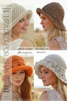 Summer beanies, caps, kufees and brim hats - trends and styles, free patterns and tutorials - useful advice on wiring a brim for flexibility! - DiaryofaCreativeFanatic