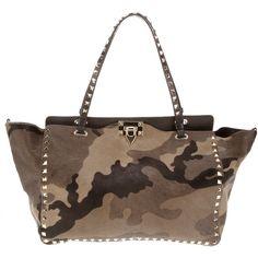 VALENTINO GARAVANI camouflage 'Rock Stud' tote ($2,920) ❤ liked on Polyvore