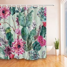 Green Plants Cactus Flower 69X70 inches Mildew Resistant Curtain - N/A