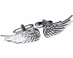 Wings Cufflinks, Silver OR Bronze- Men's Handcrafted Bird Angel Cuff Links-Soaring Flying Feather Theme Guy Prom Wedding Groom Mans Gift