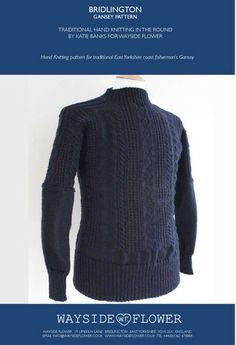 """Gansey Pattern - Bridlington Gansey - Hand Knitting Pattern in Medium 38-40"""" chest from Wayside Flower"""