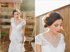 lace wedding dress by Hera Bridal. A rustic boutique barn wedding by Sweet Events Photography