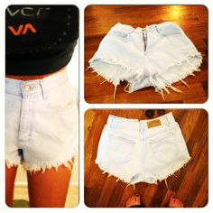 Old mom jeans into high wasted shorts.  DIY. <3