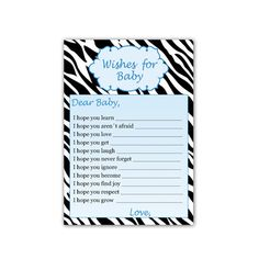 INSTANT DOWNLOAD Printable Zebra Wishes for Baby and Jar Label - Baby Boy Shower Blue Wishes for Babies Baby Shower Items Game Activity DIY Baby Shower Party Games, Baby Shower Items, Baby Boy Shower, Shower Games, Wishes For Baby Cards, Baby Zebra, Jar Labels, Party Activities, Party Printables