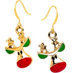 Handcrafted Gold Plated Fishhook Holiday Reindeer Dangle Earrings | Body Candy Body Jewelry