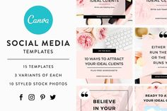 downloadable set of 15 canva templates for share-worthy social media graphics. these templates help you easily create a consistent look across all your platform - no more mismatched graphics or confused branding. elevate your social media presence, create more engagement & grow your business with less time!