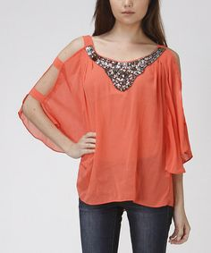 Another great find on #zulily! Coral & Silver Cutout Top by Oh My Julian #zulilyfinds