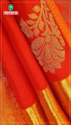 Wear this impeccable colors of bright red and zari border with floral designs for an exotic occasion to stand out as a queen! #ParamparaPattu #Pothys #SareeLove