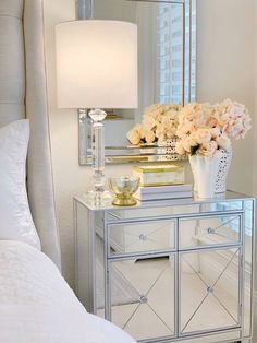 Bedroom furniture mirrored pottery barn 68 Ideas for 2019 Mirrored Bedroom Furniture, Mirrored Nightstand, Bedroom Dressers, Dresser With Mirror, Nightstands, Glam Bedroom, Trendy Bedroom, Home Decor Bedroom, Home Decor Trends