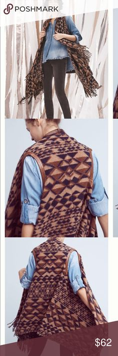 """Anthropologie Plenty by Tracy Reese Canton Vest A geometric pattern and warm, earthy hues give this fringed vest an autumnal feel. From Plenty by Tracy Reese.  Wool, acrylic, polyester Open front Dry clean Imported  Dimensions 48""""L Anthropologie Jackets & Coats Vests"""