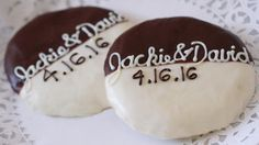 Customizable black & white cookies - great as wedding favors or memorable addition to the reception's dessert table