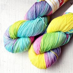 I love these tropical rainbow - a burst of summer sunshine! My favourite shawl is knit in this colourway too so I've a bit of a soft spot for it