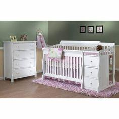 Sorelle Tuscany 2 Piece Nursery Set in White - Crib & 4 Drawer Dresser