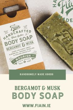 Cologne infused handcrafted body soap. Made in Ireland. Packed with skin loving ingredients like pure shea butter to nourish and moisturise, sweet almond oil to soothe, and green clay to purify and heal. Infused with our signature cologne blend of bergamot & musk. Vegan friendly. Paraben and phthalate free. #handmadesoap  #irishsoap  #cologne  #sheabutter  #bergamot  #musk  #nourishingsoap