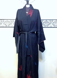 1950's Black and Red Authentic Vintage Kimono by RetrosaurusRex