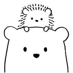 Cute Drawings: Bears, teddy bears and pandas - myeasyidea sites Cute Easy Drawings, Art Drawings For Kids, Pencil Art Drawings, Doodle Drawings, Drawing For Kids, Line Drawing, Animal Drawings, Doodle Art, Teddy Bear Drawing
