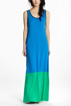 Anthropologie Dip-Dyed Colorblock Maxi Chemise