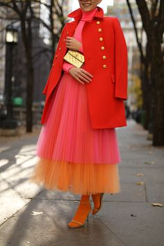 Blair Eadie wearing a neon pink and orange tulle skirt with colored tights and a J.Crew coat // Click through for more holiday dressing ideas and fall fashion on Atlantic-Pacific Stage Outfit, Fashion Outfits, Womens Fashion, Fashion Trends, Dance Outfits, Ladies Dress Design, The Dress, Coat Dress, Curvy Fashion