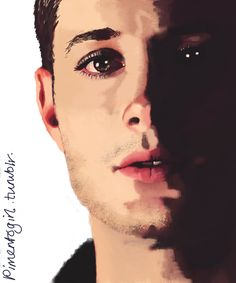 "pimentogirl: "" I wanted to… so I did… chalk brush - 3 ½ hours "" Supernatural Dean, Dean Winchester, Jensen Ackles, True Beauty, Halloween Face Makeup, Images, Fan Art, Actors, Artist"