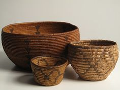 Washoe basket circa 1900-1915 and Pima Basket/Apache basket.