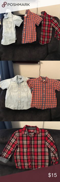 Boys 3T Button Down Bundle 3 size 3T button down shirts. 2 short sleeve and 1 flannel long sleeve. Brands are OshKosh, Carters, and Cherokee. We have a pet free and non smoking home ❤ reasonable offers will be considered Carter's Shirts & Tops Button Down Shirts
