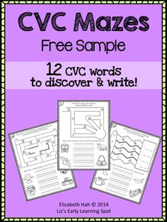 3 FREE pages from my 30 page CVC Mazes pack. Enjoy! #CVC #CVCwords