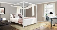 The Four Poster Canopy Bed - Summer is a four poster wooden bed frame with a prestigious look that is destined to become the centrepiece of any bedroom. Four Poster Bed Frame, 4 Poster Beds, Low Wooden Bed Frame, Wooden Beds, Home Design, Modern Design, Bedroom Furniture, Bedroom Decor, Bedroom Ideas