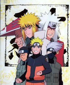 Naruto's mentors: Iruka, Kakashi, Jiraiya, Minato, Hiruzen <3