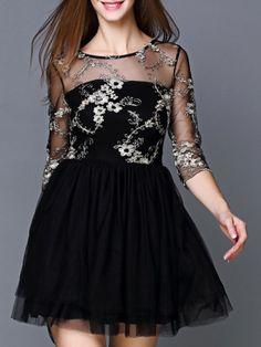 Kleid Rundhals mit Tüll - schwarz