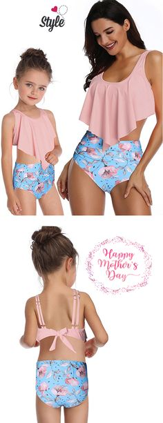 Knotted Back Floral Print Family Swimsuit Swimsuits For Teens, Modest Swimsuits, Pink Kids, Neck Pattern, Bra Styles, Tankini, Floral Prints, One Piece, Clothing