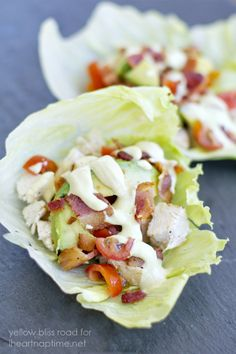 Chicken Club Lettuce Wraps with Creamy Dijon Dressing. Good lunch option? Could put on wraps or lettuce... Use rotisserie chicken