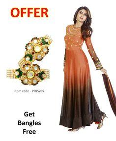 Buy Coffee Brown & Orange Party Wear Salwar Kameez online at  https://www.a1designerwear.com/coffee-brown-orange-party-wear-salwar-kameez  Price: $83.07 USD