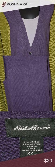Eddie Bauer Knit Vest XXL Women's Plus Blue Eddie Bauer Knit Vest Women's Plus Size XXL  Blue Gently Worn, no signs of wear! Eddie Bauer Sweaters