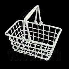 White Wire Supermarket Shopping Basket 1/6 Doll's House Dollhouse Miniature New | eBay