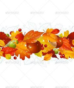 Autumnal seamless horizontal background