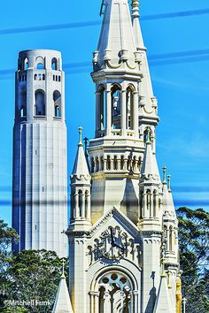 Up Close View Of Church And Coit Tower In North Beach District, San Francisco By Mitchell Funk mitchellfunk.com