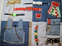 Masculine Blue Jeans Bib Overalls Fidget, Sensory, Activity Quilt Blanket by TotallySewn on Etsy