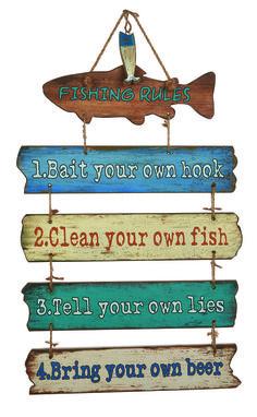 Fishing Rules Wooden Plaque #coastal #fishing #decor