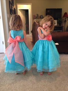 Turquoise and coral flower girl or junior bridesmaid dresses